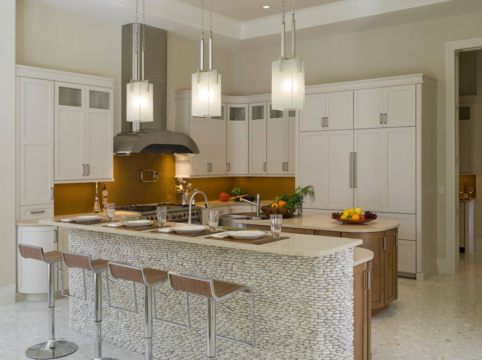 Square Pendant Light Kitchen Modern With Bar Sink Beige Countertop Throughout Most Popular Modern Pendant Lights For Kitchen (#14 of 15)
