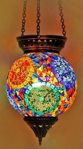 Stained Glass Hanging Pendant Lamp – Foter Inside Newest Mosaic Pendant Lights (#14 of 15)
