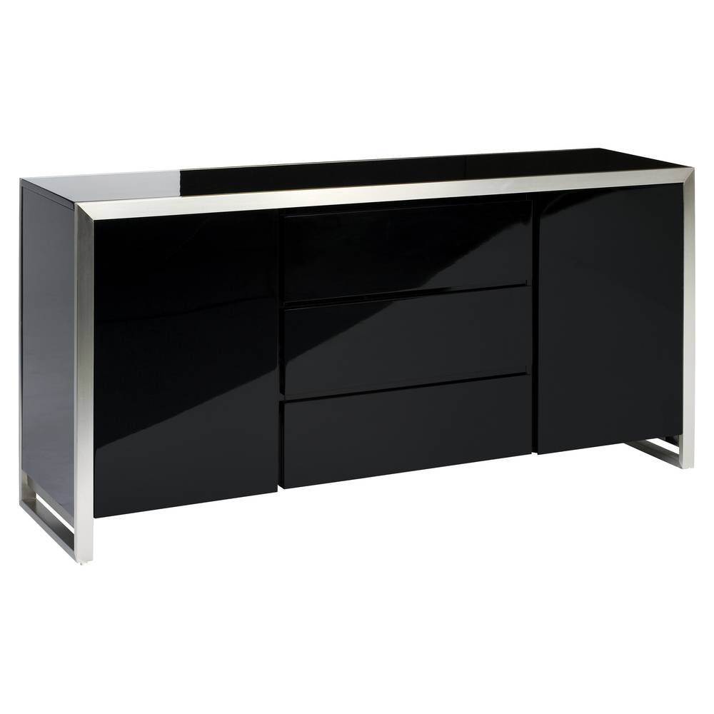 Steel Frame Gloss Sideboard Black – Dwell In Grey Gloss Sideboards (#13 of 15)