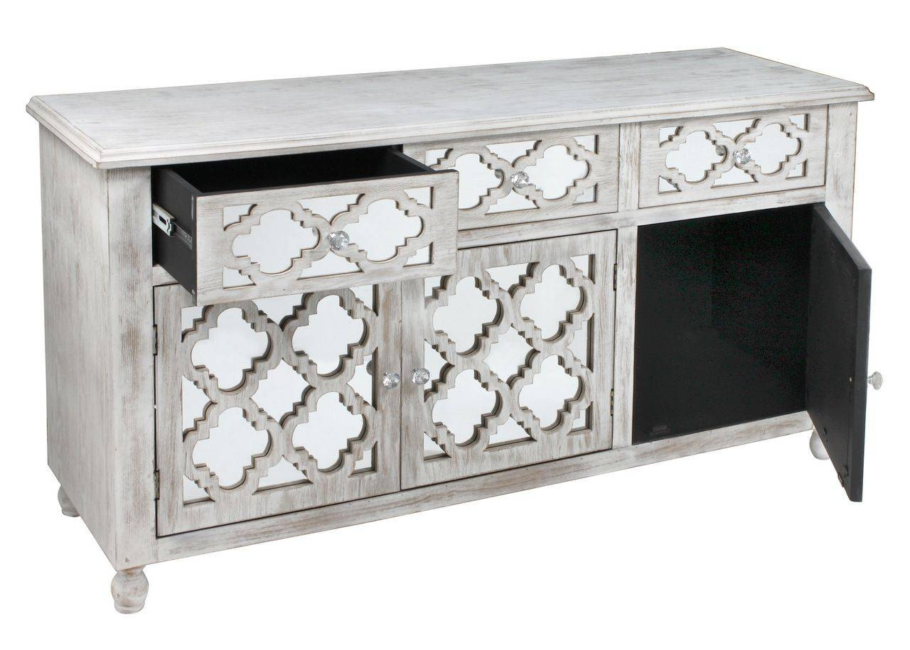 Style Washed Wood Low Sideboard With Mirrored Drawers Throughout White Mirrored Sideboards (#13 of 15)