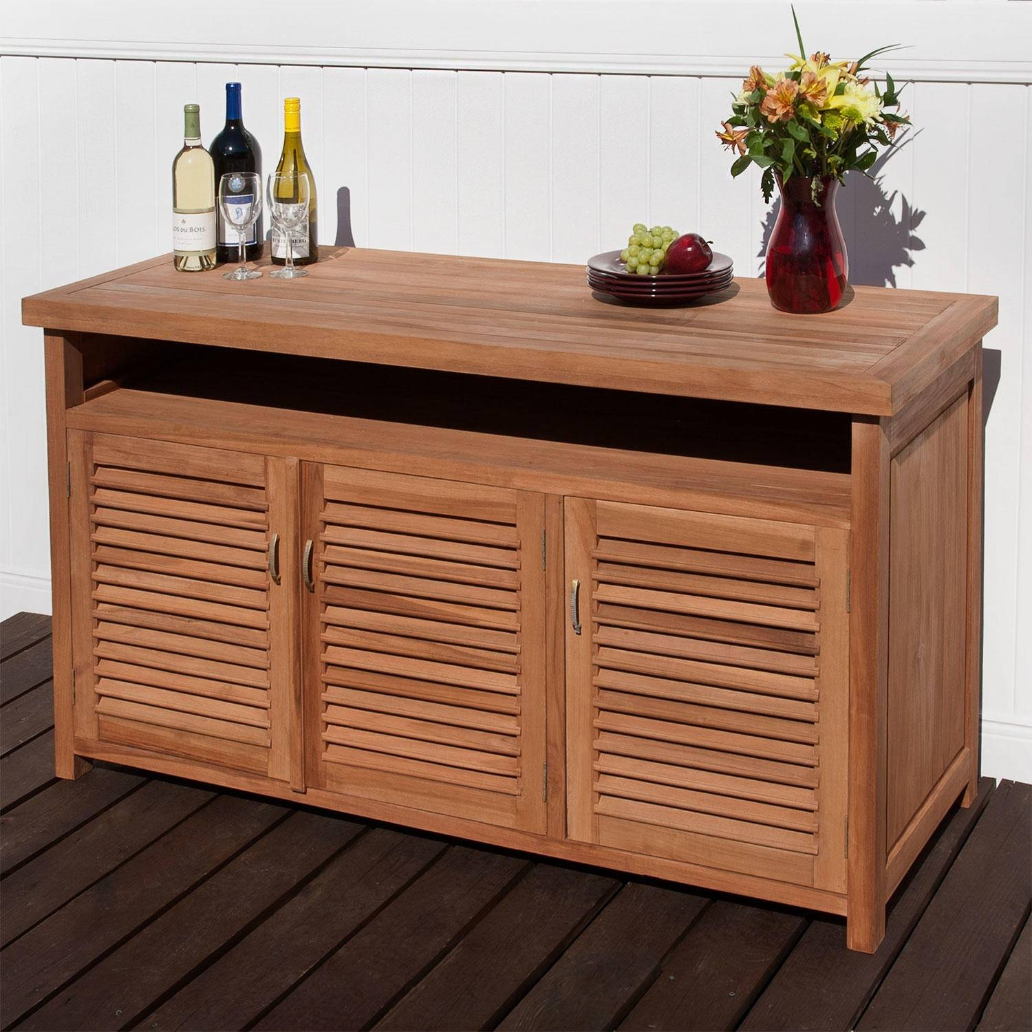 Teak Outdoor Buffet With Storage – Outdoor With Regard To Outdoor Sideboards And Buffets (View 1 of 15)