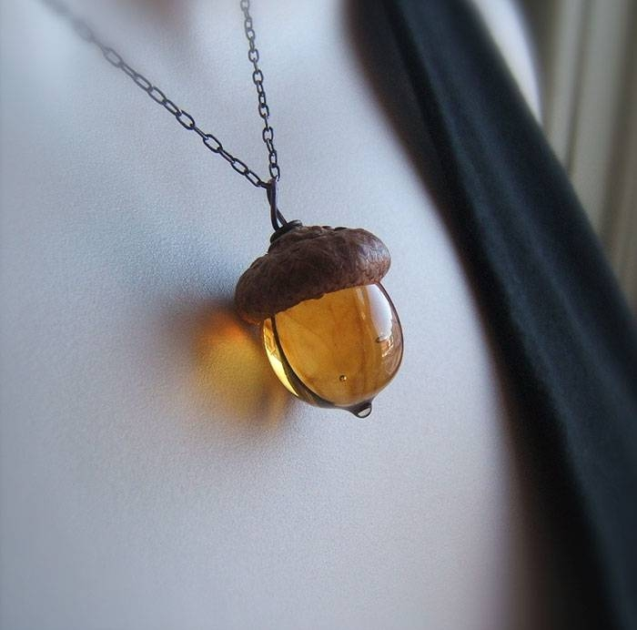These Glass Acorn Pendants Made With Real Acorn Caps Are The With Regard To Latest Acorn Pendants (#13 of 15)