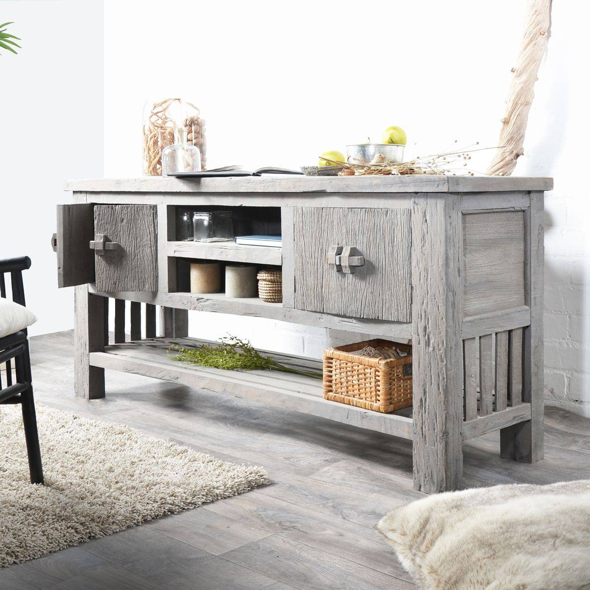 Tikamoon Solid Mango Wood Antique Tv Stand Sideboard Tv Unit Throughout Sideboards And Tv Stands (View 13 of 15)