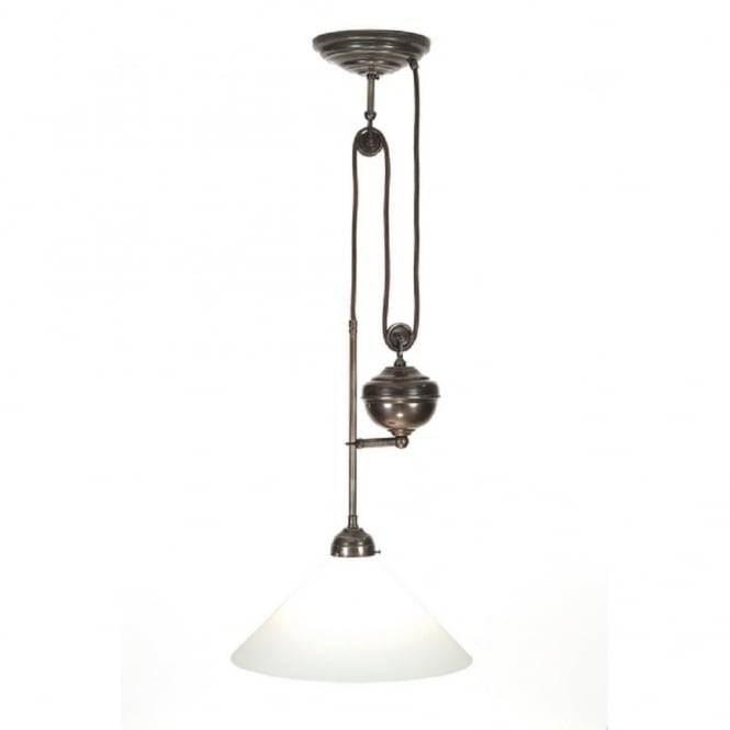 Traditional Rise And Fall Ceiling Light In Aged Brass In Most Recently Released Up And Down Pendant Lights (#13 of 15)