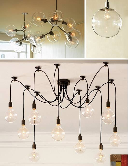 Popular Photo of Bare Bulb Cluster Pendants