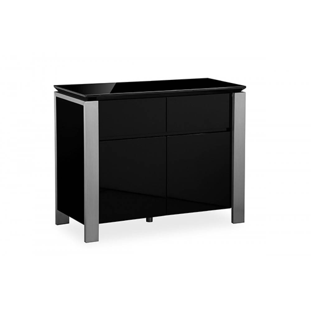 Tribeca Black High Gloss Sideboard Brushed Steel Trim Inside Black Gloss Sideboards (#15 of 15)