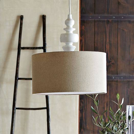 Turning Pendant – White/natural   West Elm Within West Elm Drum Pendants (View 7 of 15)