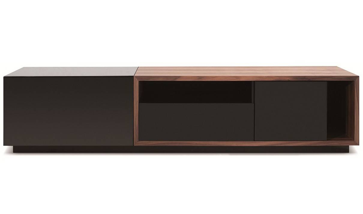 Tv047 Modern Tv Stand In Black High Gloss & Walnut | Free Shipping Inside Grey Gloss Sideboards (#14 of 15)