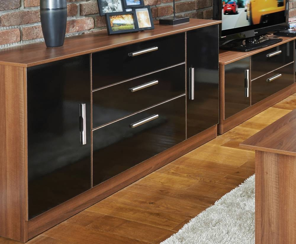 Ursula Black And Walnut 2 Door 3 Drawer Sideboards Intended For Walnut And Black Sideboards (#15 of 15)