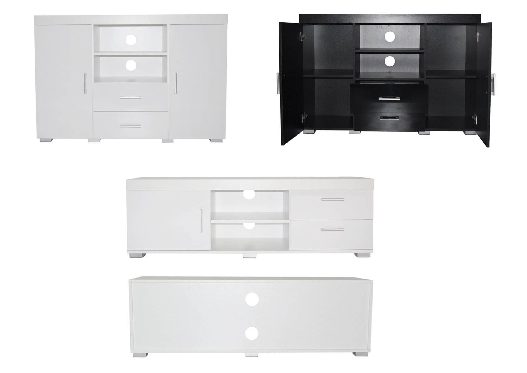 Vienna Gloss Sideboards And Media Tv Units – White Or Black High With Regard To Sideboards Units (#15 of 15)