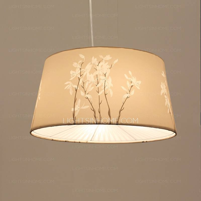 Inspiration about Vintage Floral Pattern Fabric Shade Multi Pendant Light Fixture With Recent Fabric Pendant Lamps (#9 of 15)