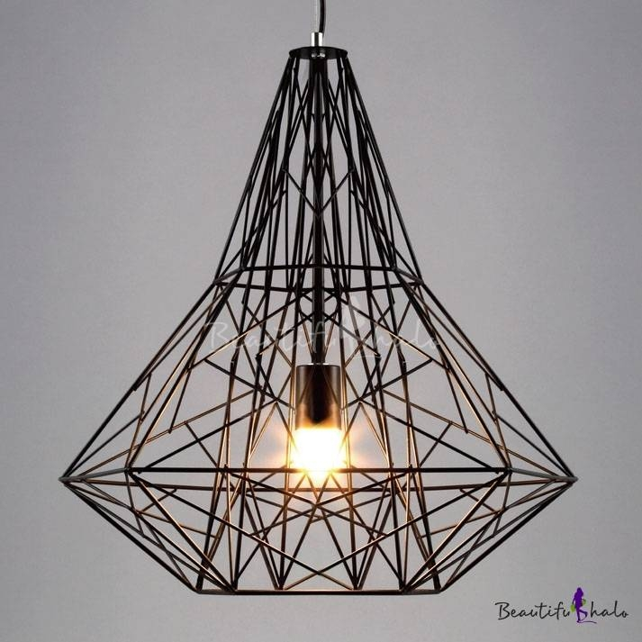 Vintage Industrial Style Large Cage Pendant Light With Reel Iron Inside 2018 Large Pendant Lights (#15 of 15)