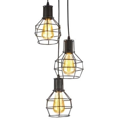 Vintage Industrial Style Three Light Cage Multi Light Pendant Pertaining To Most Recently Released Industrial Style Pendant Lights (View 15 of 15)