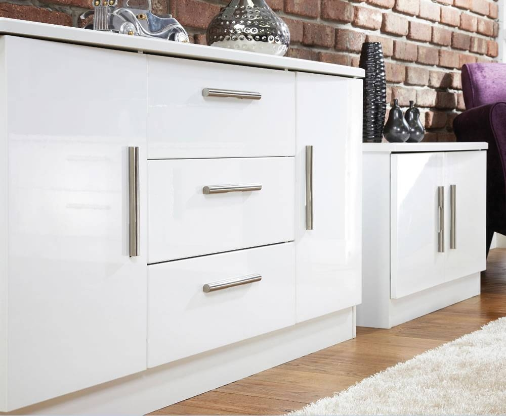 Inspiration about Vista High Gloss 2 Door 3 Drawer Sideboards For White High Gloss Sideboards (#15 of 15)