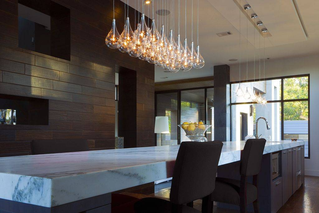 Waterdrop Shaped Modern Pendant Lighting Fixture Over A White Intended For Most Current Modern Kitchen Lighting Pendants (#15 of 15)