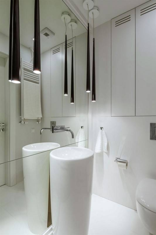White Bathroom Decoration Using Tall Long Black Cone Modern Pertaining To 2017 Modern Bathroom Pendant Lighting (#15 of 15)