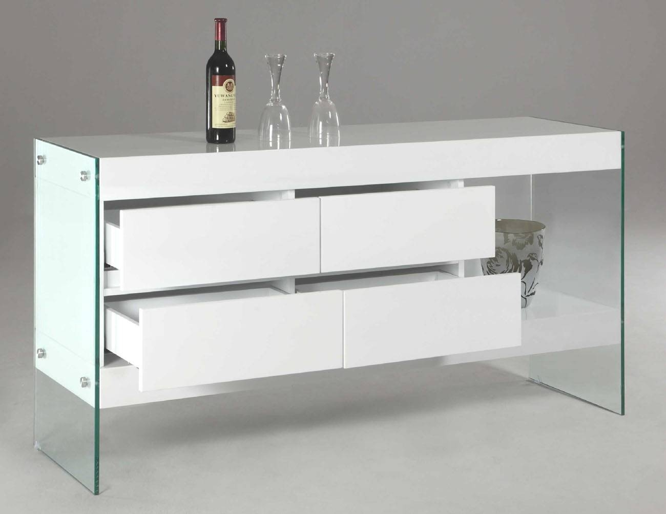 White Lacquer Wood With Glass Sides And Legs Contemporary With Stylish Glass Buffets And Sideboards (View 2 of 15)