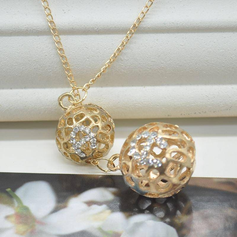 Wholesale New Hollow Double Ball Pendants Gold Plated Chain Intended For Best And Newest Gold Ball Pendants (#14 of 15)