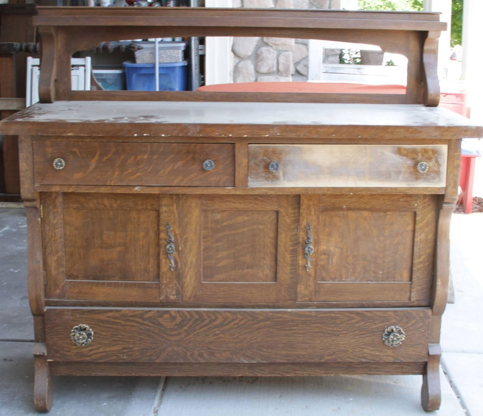 Willow Creek: Antique 3 Toned Distressed Sideboard Buffet With Regard To Distressed Sideboards And Buffets (#15 of 15)