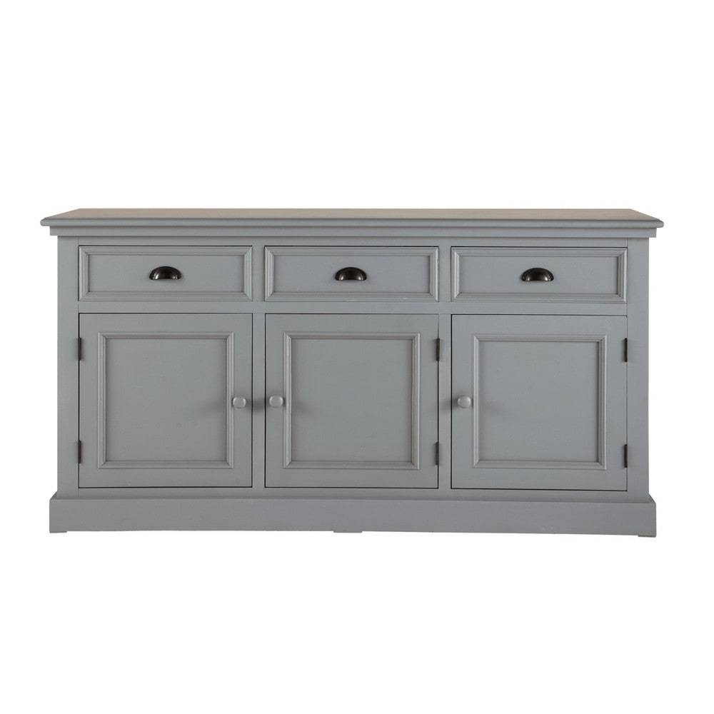 Wooden Sideboard In Grey W 156Cm Newport | Maisons Du Monde Pertaining To Grey Wood Sideboards (#15 of 15)