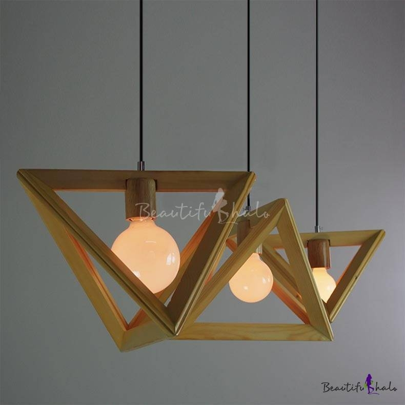 Wooden Triangle Brilliant Design Large Pendant Light For Dinning With Regard To Most Recently Released Italian Pendant Lighting (View 15 of 15)