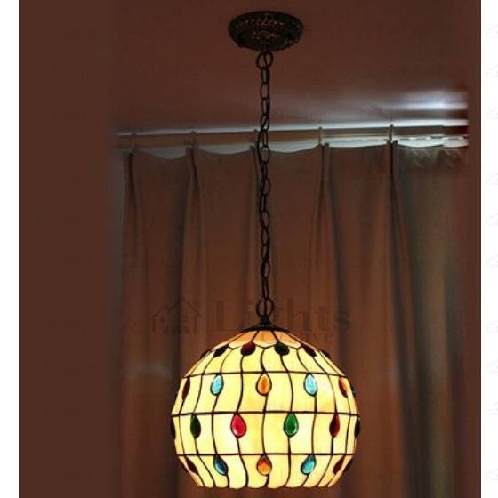 Wrought Iron Painting Finish Large Tiffany Pendant Lights Intended For Most Recent Tiffany Pendant Lights (View 5 of 15)