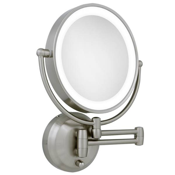 Inspiration about 10X / 1X Led Lighted Round Satin Nickel Wall Magnifying Mirror Throughout Magnified Wall Mirrors (#1 of 15)