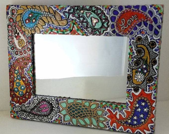 14 Best Mirrors Images On Pinterest | Glitter Paint, Hand Painted In Hand Painted Wall Mirrors (#1 of 15)