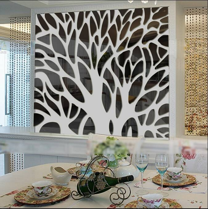 Inspiration about 2015 New 3D Large Tree Mirror Wall Stickers Mirror Stickers For Acrylic Wall Mirrors Stickers (#6 of 15)