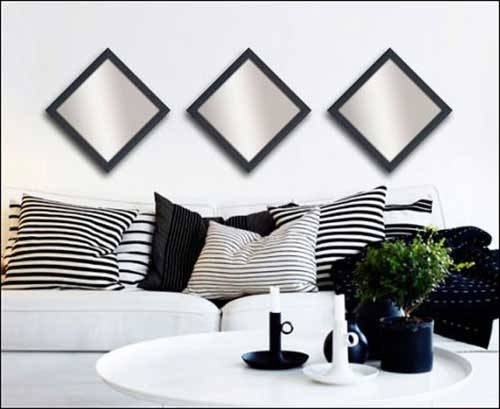 3 Decorative Mirrors In Black Frame – Framed Canvas Art Pertaining To Black Decorative Wall Mirrors (#3 of 15)