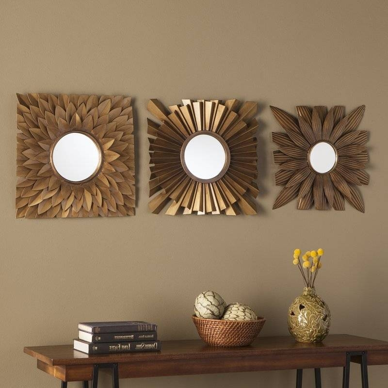 3 Piece Antique Gold Decorative Mirror Set & Reviews | Birch Lane With Wall Mirror Sets Of  (#2 of 15)