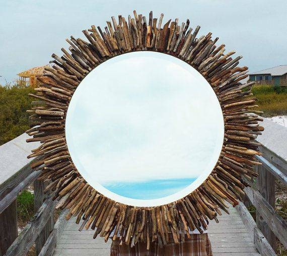 "Inspiration about 30"" Circular Sunburst/starburst Driftwood Mirror Coastal Seaside In Coastal Style Wall Mirrors (#1 of 15)"