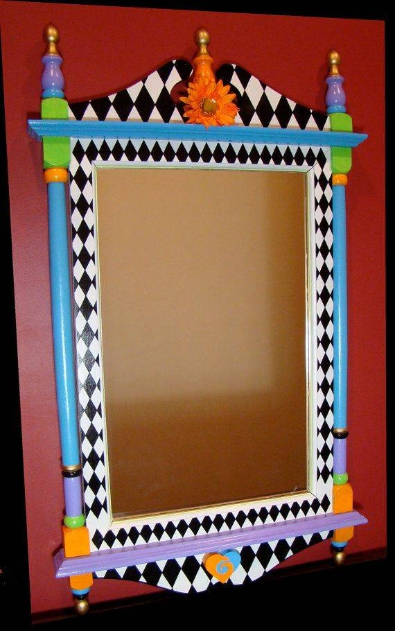 32 Best Mirrors Images On Pinterest | Mirror, Crafts And Painted Pertaining To Hand Painted Wall Mirrors (#2 of 15)