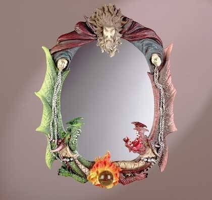 "Inspiration about 33562 ""wizard With Two Dragons"" Wall Mirror With Colorful Wall Mirrors (#10 of 15)"