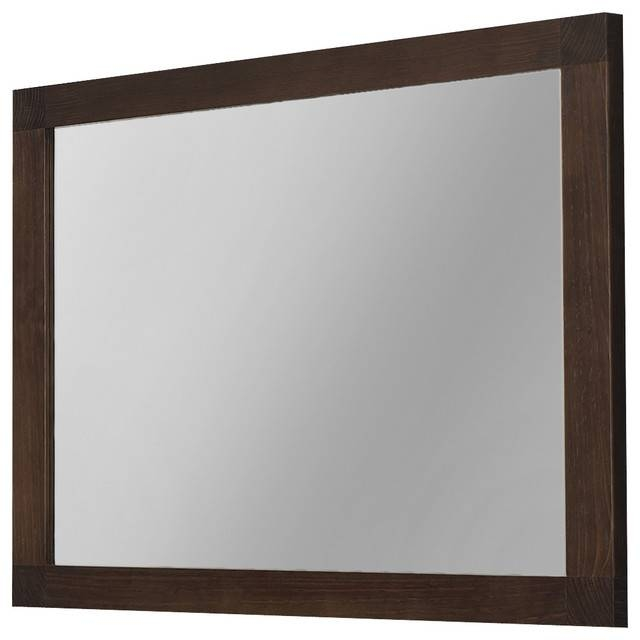 "Inspiration about 40"" Nordico Wall Framed Mirror Solid Wood Walnut, Framed Mirror With Wood Framed Wall Mirrors (#5 of 15)"