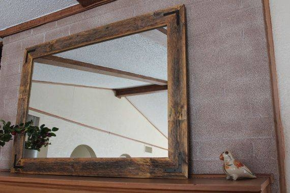 42X30 Reclaimed Wood Mirror – Large Wall Mirror – Rustic Modern For Rustic Wall Mirrors (View 1 of 15)