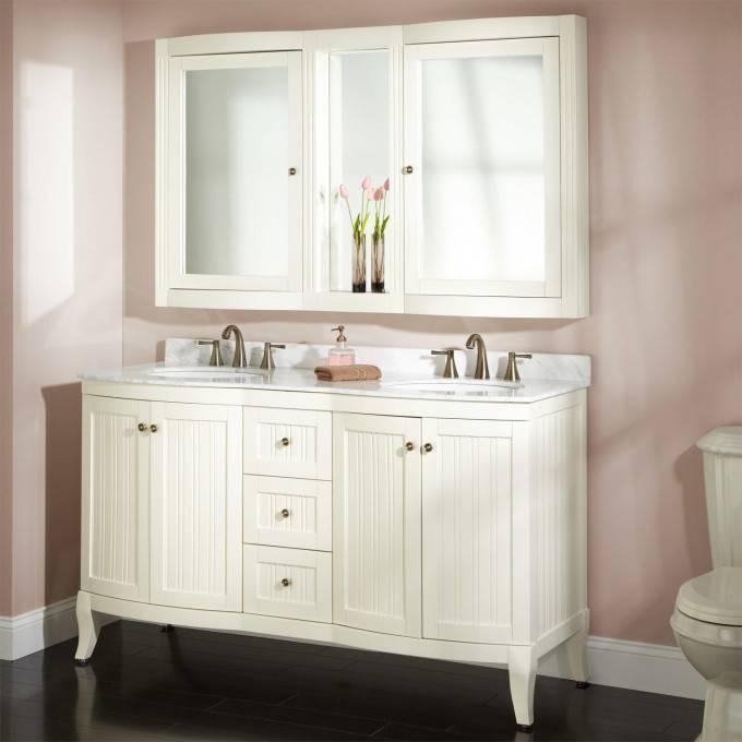 "60"" Palmetto Creamy White Double Vanity Set – Bathroom Within Bathroom Vanity Mirrors With Medicine Cabinet (#2 of 15)"