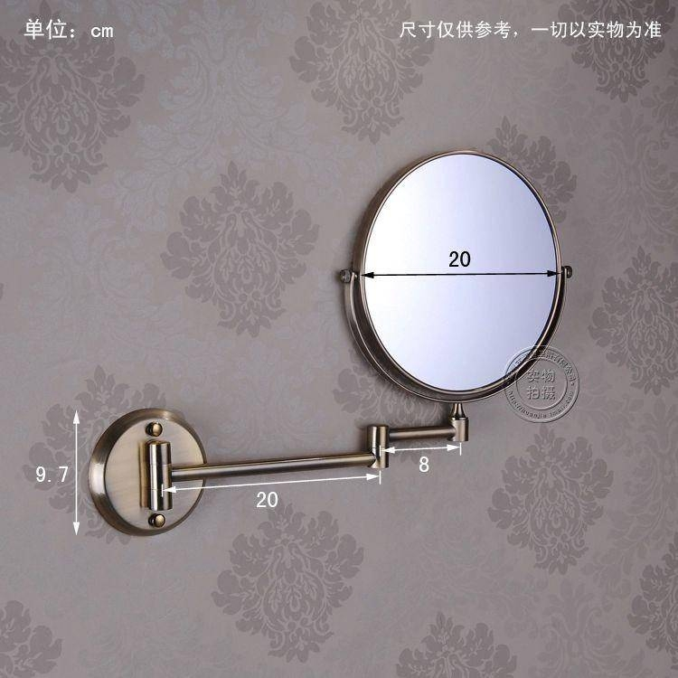 8 Inch Dual Face Antique Brushed Makeup Mirrors 1X3 Magnifier Inside Cosmetic Wall Mirrors (#2 of 15)