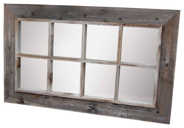 8 Panel Barn Wood Window Pane Mirror – Rustic – Wall Mirrors – Pertaining To Window Wall Mirrors (#1 of 15)