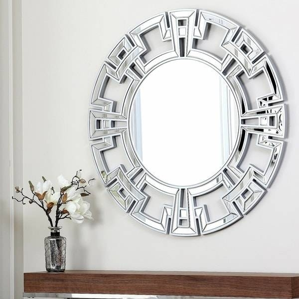 Abbyson Pierre Silver Round Wall Mirror – Free Shipping Today Pertaining To Silver Wall Mirrors (#2 of 15)