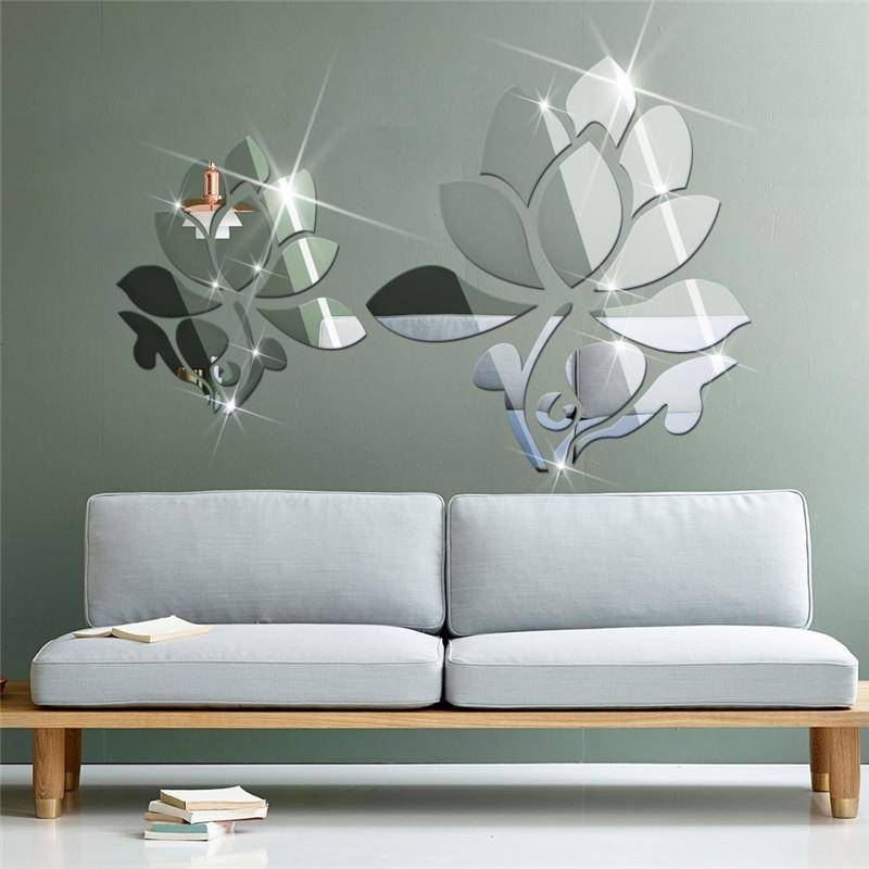 Acrylic 3D Diy Mirror Surface Wall Sticker Of Lotus Flowers For In Wall Mirror Stickers (#2 of 15)