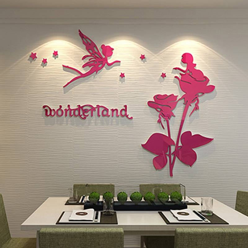 Acrylic Mirror Surface Wall Sticker Wonderland Elf Flower Fairies For Girls Wall Mirrors (View 11 of 15)