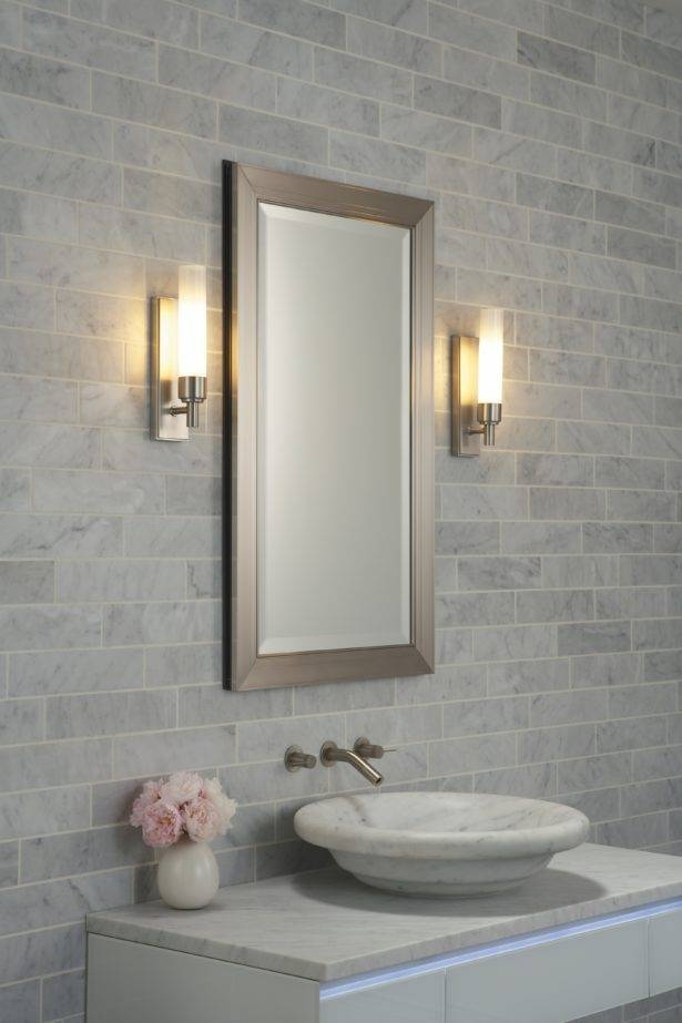 Amazing Bathroom Sconces Brushed Nickel Bathroom Vanity Sconces Within Brushed Nickel Wall Mirror For Bathroom (#2 of 15)