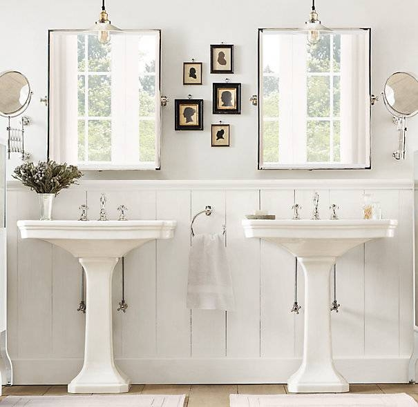 And Her Pedestal Sinks In Cottage Bathroom With Bathroom Extension Mirrors (#4 of 15)