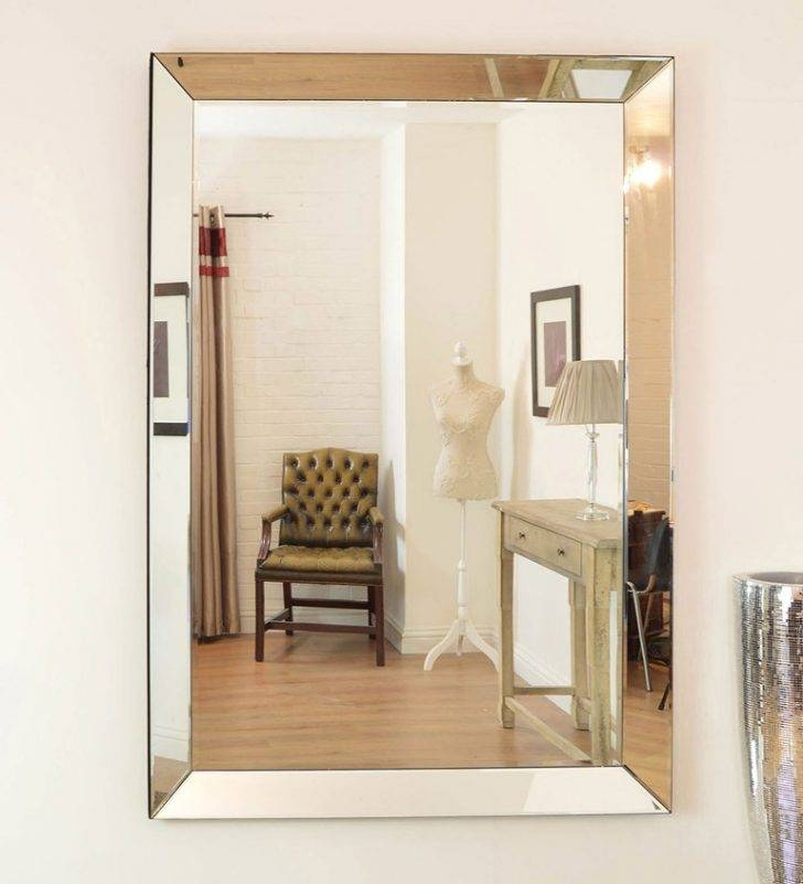 Antique Antique Look Frameless Wall Mirror Also Large Modern Inside Frameless Molten Wall Mirrors (#3 of 15)