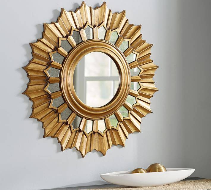 Antique Gold Sunburst Wall Mirror | Pottery Barn With Sunburst Wall Mirrors (View 11 of 15)