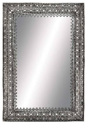 Antique Silver Chrome Frame Rectangle Mirror India Inspired Decor In Black And Silver Wall Mirrors (View 6 of 15)