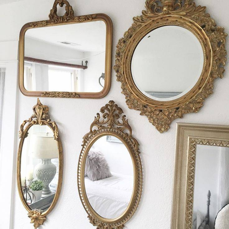 Antique Silver Wall Mirrors Vintage Mirror Wall Tiles Large Regarding Antique Gold Wall Mirrors (#7 of 15)