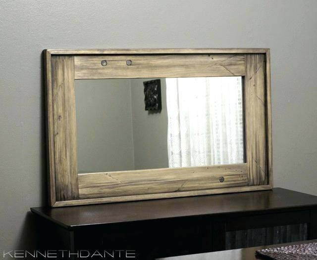 Antique Wood Framed Wall Mirror Allen Roth Nature Wood Round Throughout Cherry Wood Framed Wall Mirrors (#3 of 15)