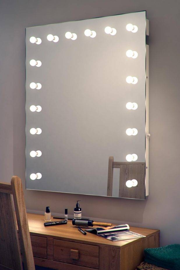 Appealing Led Lighted Makeup Mirror Wall Mounted Hardwired Miro With Led Wall Mirrors (#2 of 15)